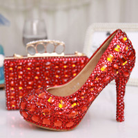 Wholesale Glitter Red Crystal Bridal Wedding Dress Shoes Party Evening Dress Shoes Party Prom High Heels with Matching Crystal Clutch Bag