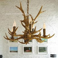 LED american chocolate bars - Jane European vintage American country garden living room dining creative antlers chandelier light chocolate bar