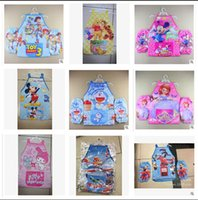 PU kids aprons - 20 styles mickey minnie Sofia spiderma frozen elsa princess KT Dora Kids Childrens Cartoon Cooking Art Painting Smock Apron Oversleeve M075
