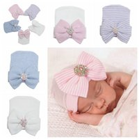 Wholesale Warm Cute Baby Infant Toddler Newborn Striped Caps Hospital Soft Beanie Bow Jewel Hats for Winter Autumn Colors