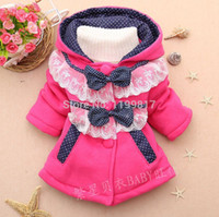 Wholesale 2016 New Winter Children s outerwear Two little bow baby girls hooded sweater child single breasted jackets coat clothing