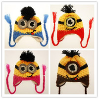 minion hat - New kids Despicable me minions hats Crochet beanie knits handmade beanies baby Despicable Me beanies caps hats christmas halloween gift
