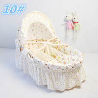 Wholesale 11 Colors Portable Baby Cribs Corn Husk Straw Braid Bassinet Cradles Lovely Baby Baskets With Long Skirt Cotton Cloth