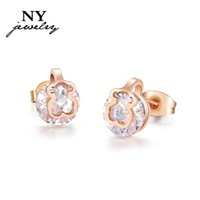 bear studs - fashion crystal bear stud earrings pendientes for women tou bear ear cuff rose gold jewelry