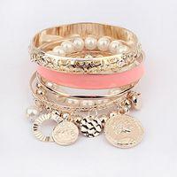 Wholesale Jewelry New Hollow Tassel Bracelet Bangle for Women Coins Avatar Pearl Charm Bangle Bracelet Color