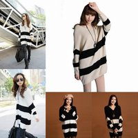 Wholesale Vogue Women Loose Striped Sweaters Soft Warm Batwing Sleeve Long Sweaters Style Choose ENK