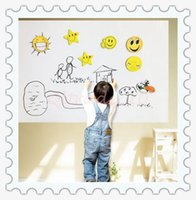 adhesive white board - 500pcs CCA3148 Kids CM PVC Whiteboard Wall Sticker Decal Vinyl Removable DIY White Board Sticker With Marker Pen With Retail Package