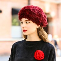 Wholesale 2016 women fashion beret high quality real fur hats Factory price
