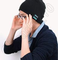 acrylic speakers - 50PCS HHA458 Bluetooth Music Hat Soft Warm Beanie Cap with Stereo Headphone Headset Speaker Wireless Microphone