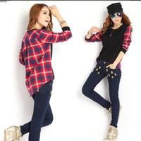 Wholesale Korean Womens Ladies Plaid Checked Long Sleeve Casual Loose T Shirt Tops Blouse for Autumn Priming