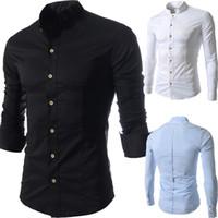 plain long sleeve - Men s Slim Fit Pure colour Mandarin Collar Fitted Long Sleeve Plain Casual Shirt