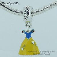 Wholesale Fits Pandora Charms Bracelet Sterling Silver Bead Princess Dress Charm With Blue Yellow Enamel European Women DIY Jewelry