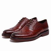 basic shoe design - GRIMENTIN fashion Italian luxury men shoes genuine leather brown black crocodile dragon head design basic flats size