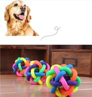 Wholesale Hot Pet Dog Cat Toy Colorful Rubber Round Ball with Small Bell Pet Toy Pet Product Play Ball Size CM CM CM