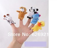 Cheap Wholesale-Free Shipping 10 pcs lot, Baby Plush Toy  Finger Puppets Tell Story Props(10 animal group) Animal Doll  Kids Toys  Children Gift