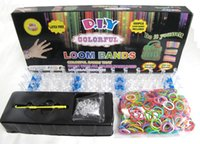 Cheap Free Shipping DHL Colorful Rainbow Loom Kit DIY Rubber Band Bracelet (600pcs+ 24S buckle+crochet+packing box) Mixed Color & Hot
