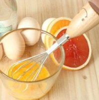 Wholesale Zakka Smiley Wooden Handle Stainless Steel Creative Egg Beater Kitchen Decoration