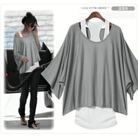 top brand t-shirts - 2015 New Brand European Fashion T Shirt Women Ladies Batwing Sleeve Tops Tank T shirt Two Pieces Set Color S XXL