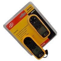 Wholesale Retail package Digital Hand held Wind Speed Gauge Meter GM816 m s MPH Scale Anemometer Thermometer Anti wrestling Measure