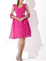 wrap dress - Princess Off the shoulder V neck Knee Length Crystal Cascading Ruffles Brooch Chiffon Bridesmaid Dress With Wrap