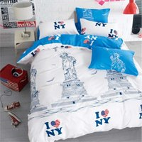 beds ny - Morpheus Fashion White Color Twin Full Queen King Size Comforter Set Bedding Set High Quality NY City sketch Duvet Cover
