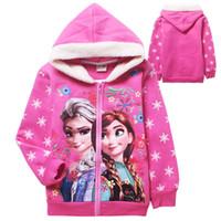Wholesale 2015 autumn Double thick warm winter clothing Frozen child Frozen sweatshirt coat long sleeved hoodies jacket zipper A072836