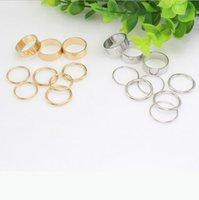 9 PC fijaron las mujeres anillos de la mano de la manera accesorios de las mujeres anillo de plata sólida banda de oro anillo de los anillos de pandora engaement anillos de la mujer libera la nave