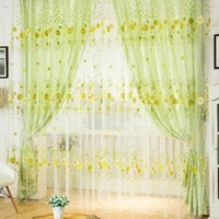 Wholesale Door Window Scarf Sheer Floral Curtain Drape Panel Voile Valances K5BO