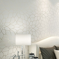 Wholesale White Lotus Flower Wallpaper Simple and Elegant Wall TV Background Covering Non woven Paper Wall Art