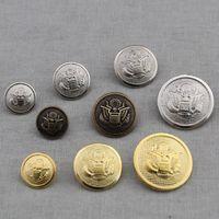 al por mayor botones de escudo de oro-Botón de metal de 50 piezas Eagle Round Shank Coat Botón Costura Accesorios Múltiples Especificaciones Tamaño Costura Botón Oro Plata Negro Colores