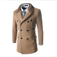 Wholesale Leather Patchwork Knitted Neck Mens Pea Coat Mens Coats Double Breasted Trench Coat Long Peacoat Men s Winter Clothes SMH0021