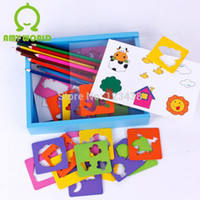 Wholesale Fun Combination Wooden Educational Drawing Toys with Molds for Baby Pencil