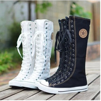 arrival high boots - 2014 New arrival lace up knee high boots canvas boots women casual boots