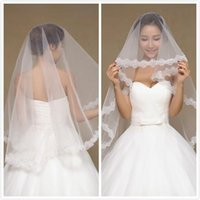 Wholesale Top Quality Cheap M Bridal Veils In Stock Real Image Lace Applique Wedding Veils Bridal Accessories