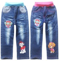 Wholesale 2016 Boys girls Jeans pants trousers denim cartoon dog kid clothes children wear Spring fall