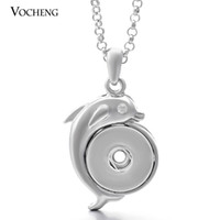 animal lover gifts - VOCHENG NOOSA Gifts for Dolphin Lovers Pendant Necklace Jewelry Metal Snap Crystal Buttons Necklace NN