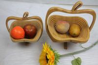 Wholesale Bamboo Folding Fruit Veg Basket Foldable Fruit Veg Bowl Basket Apple Design Useful Chinese Traditional Crafts