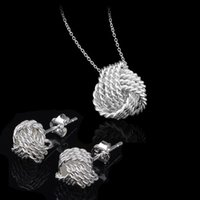 Wholesale Fancy Silver Jewelry Sets Women Wedding Jewelry Set Necklace Earrings Sterling Silver Bridal Jewelry Set