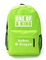 big bang backpack - Korea Black BigBang Big Bang G dragon GD Punk Rock Flora Skull Backpack Schoolbag Bag one of a kind