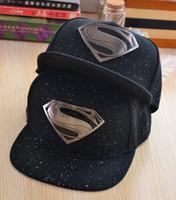baseball cap s - 2016 Hot brand DC fitted hats supermen baseball caps for women men Casual Outdoor sports snapback hats logo S caps blue grey black free ship
