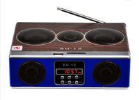 Wholesale Fashion High Quality Mini Sound Box MP3 Player Mobile Speaker Boombox With FM Radio SD Card Reader USB Loudspeakers SU12 Black