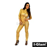 Wholesale I Glam Women s Gothic Rihanna Celebrity Punching Catsuit Golden