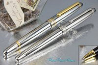 Ballpoint Pens ball high school - MB High Quality Office School Stationery Pure Silver and Golden Silver Clip Executive Roller Ball Pen