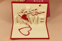 wholesale gift cards - 3D Love tree greeting card Wedding handmade Creative Kirigami Origami D Pop UP Gift Cards Thank You Cards