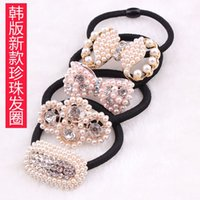 big purchase - Xayakids hair clips barrettes Factory direct shop yuan purchase big bow pearl with diamond ring Boutique Hair rope Rhinestone Tiara whole