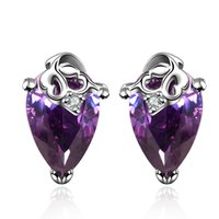 Wholesale Hot Sale Vintage CZ Amethyst Stud Earrings Platinum Plated Fashion Crystal Grape Wedding Jewelry For Women DFE055 M FVRE001
