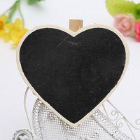 Wholesale Practical Mini Cute Heart shape Pegs Message Note Blackboard Chalkboard Memo Wooden Clips Notice Board Home Office Decor