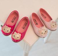 magic rose - 2015 Spring Girls Leather Shoes Bling Rhinestone Kitty Cat Child Girl PU Glitter Princess Magic Tape Soft Sole Flats Pink Rose Red K3293