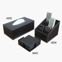leather coaster - black home office desk organization storage box remote controller holder tissue box case dispenser cup coaster T60