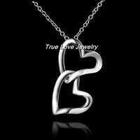 Wholesale 100 real sterling silver double heart pendant necklace fashion jewelry wedding gift for women